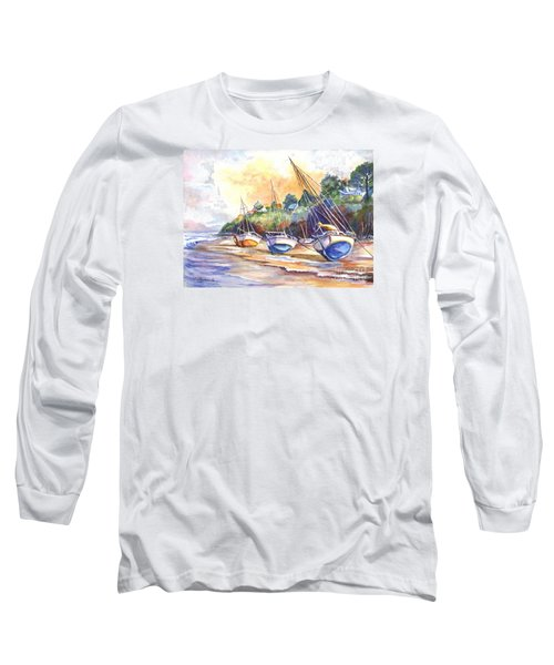Long Sleeve T-Shirt featuring the painting Sunset Sail On Brittany Beach  by Carol Wisniewski