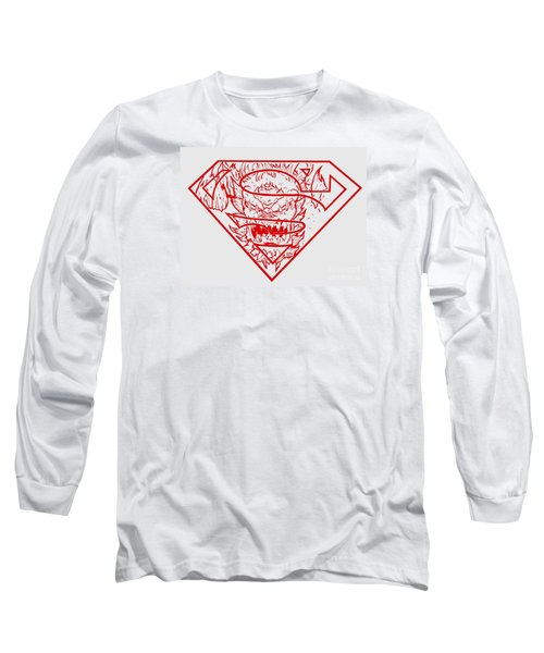 Superman And Doomsday Red Long Sleeve T-Shirt by Justin Moore