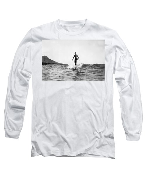Surfing At Waikiki Beach Long Sleeve T-Shirt