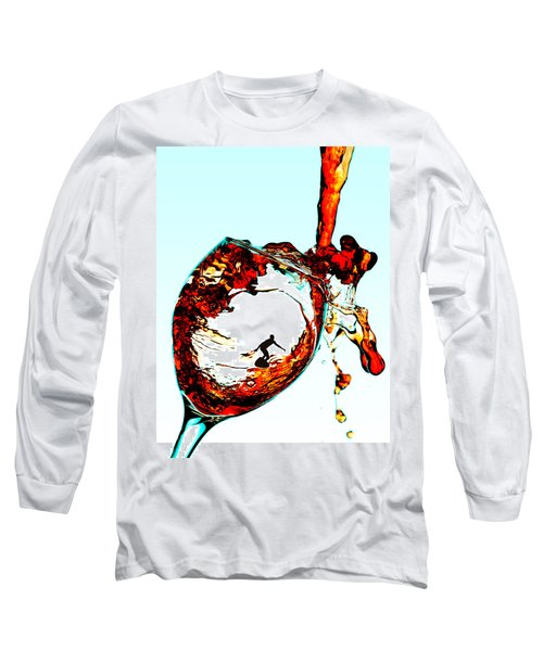 Surfing In A Cup Of Wine Little People On Food Long Sleeve T-Shirt by Paul Ge