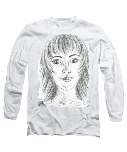 Long Sleeve T-Shirt featuring the drawing Portrait Stunning by Teresa White