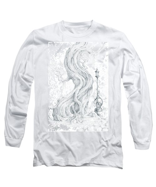 Long Sleeve T-Shirt featuring the drawing Sylvia And Her Lamp Drawing by Curtiss Shaffer
