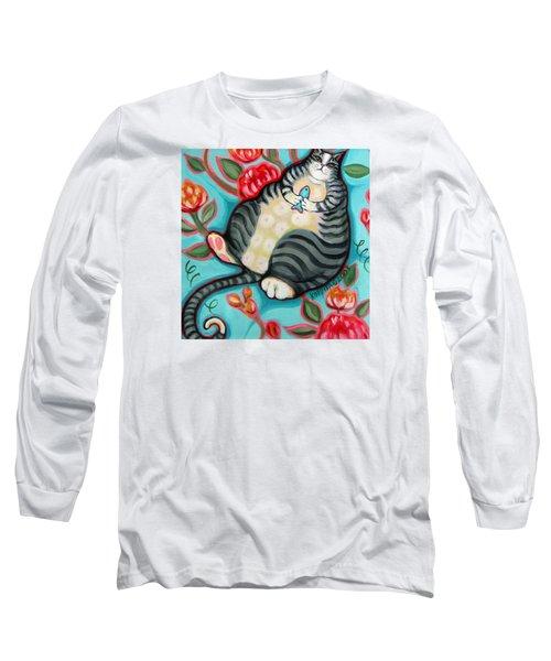 Tabby Cat On A Cushion Long Sleeve T-Shirt