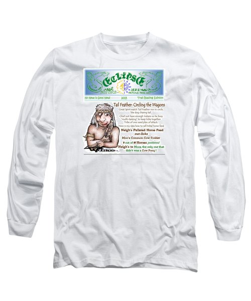 Long Sleeve T-Shirt featuring the painting Real Fake News Circling The Wagons Column 1 by Dawn Sperry