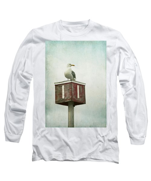 Long Sleeve T-Shirt featuring the photograph Gull With Blue And Red by Brooke T Ryan