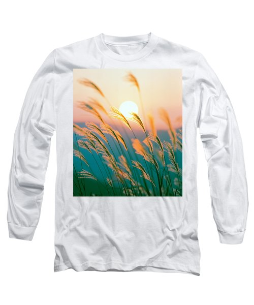 Tall Grass With Sunset In Background Long Sleeve T-Shirt