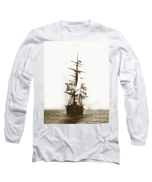 Long Sleeve T-Shirt featuring the photograph Tall Ship Sailing Out Of San Francisco California Circa 1900 by California Views Mr Pat Hathaway Archives