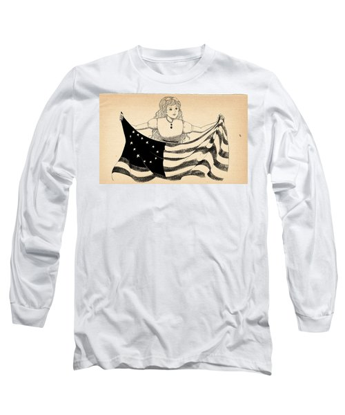 Long Sleeve T-Shirt featuring the drawing Tammy And The Flag by Reynold Jay