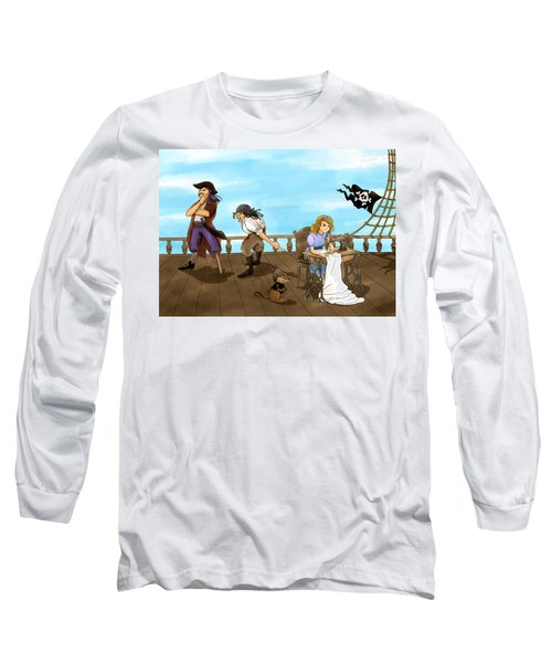 Long Sleeve T-Shirt featuring the painting Tammy And The Pirates by Reynold Jay