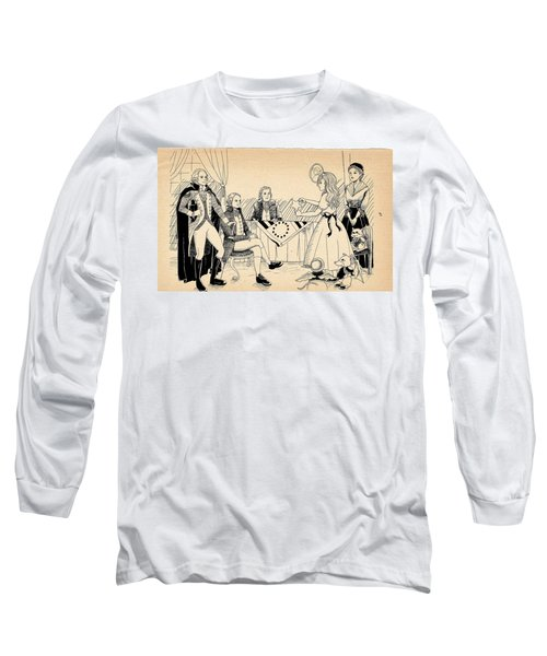 Long Sleeve T-Shirt featuring the drawing Tammy Meets Betsy Ross by Reynold Jay