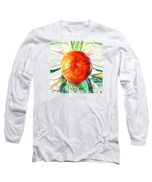 Long Sleeve T-Shirt featuring the painting Tangerine Orb Nouveau by Robin Moline
