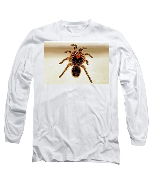 Long Sleeve T-Shirt featuring the photograph Tarantula Hanging On Glass by Susan Wiedmann