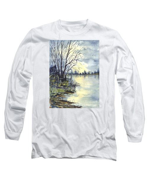 Moonlight Reflections In Loch Tarn In Scotland Long Sleeve T-Shirt by Carol Wisniewski