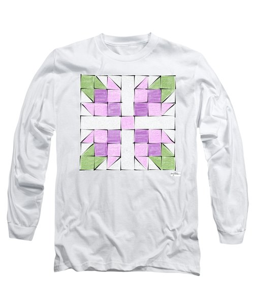 Tea Rose Quilt Block Long Sleeve T-Shirt