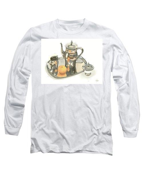 Tea Service With Orange Long Sleeve T-Shirt