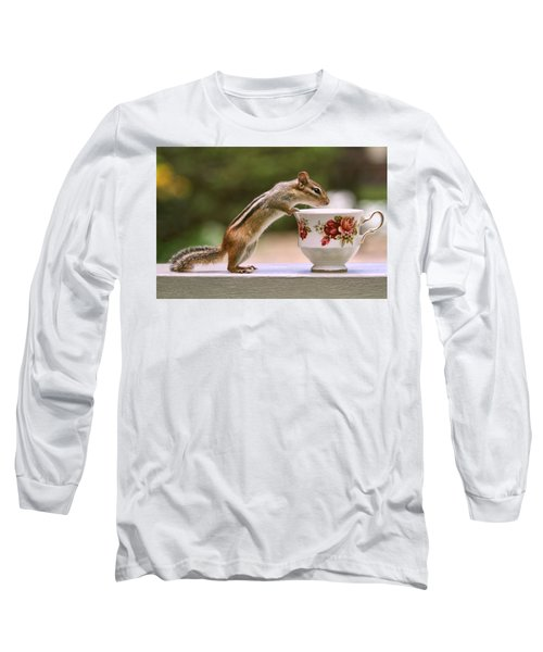 Tea Time With Chipmunk Long Sleeve T-Shirt