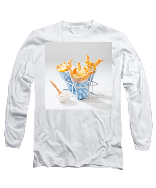 Tempura Prawns Long Sleeve T-Shirt by Amanda Elwell