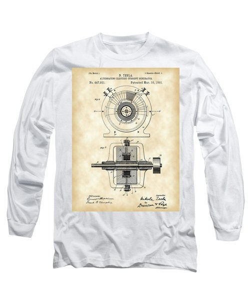 Tesla Alternating Electric Current Generator Patent 1891 - Vintage Long Sleeve T-Shirt by Stephen Younts