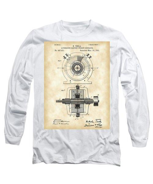 Tesla Alternating Electric Current Generator Patent 1891 - Vintage Long Sleeve T-Shirt