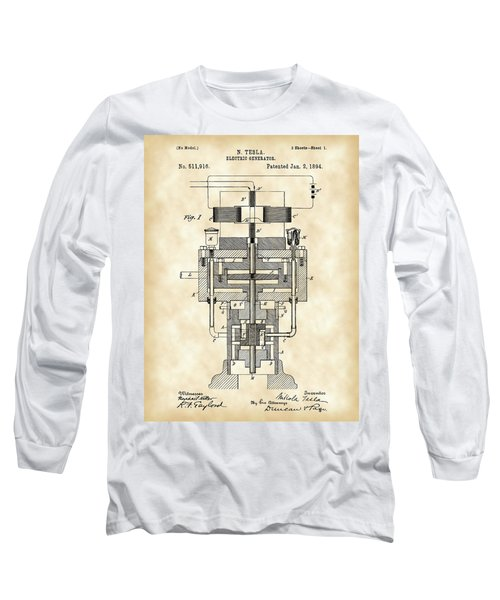 Tesla Electric Generator Patent 1894 - Vintage Long Sleeve T-Shirt by Stephen Younts