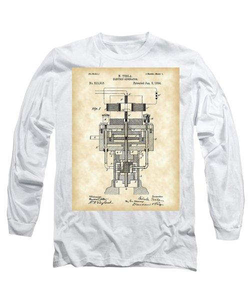 Tesla Electric Generator Patent 1894 - Vintage Long Sleeve T-Shirt