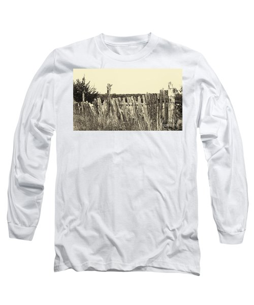 Texas Fence In Sepia Long Sleeve T-Shirt