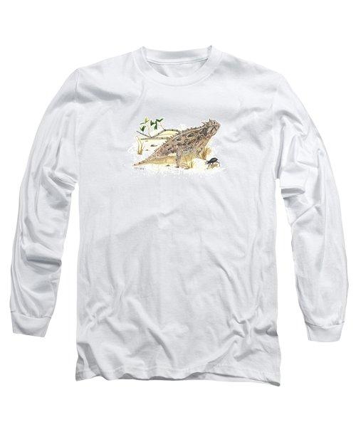 Texas Horned Lizard Long Sleeve T-Shirt by Cindy Hitchcock