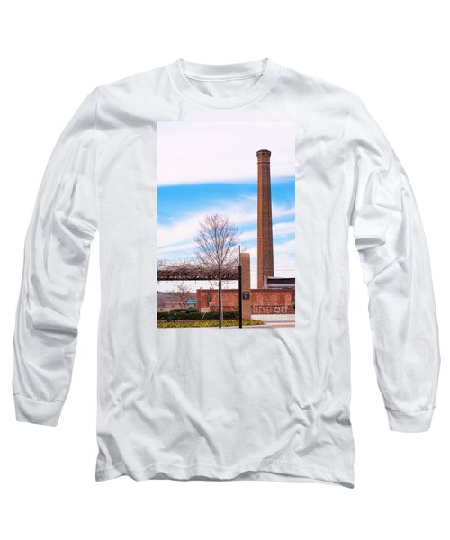 Long Sleeve T-Shirt featuring the photograph Historical Textile Mill Smoke Stack In Columbus Ga by Vizual Studio
