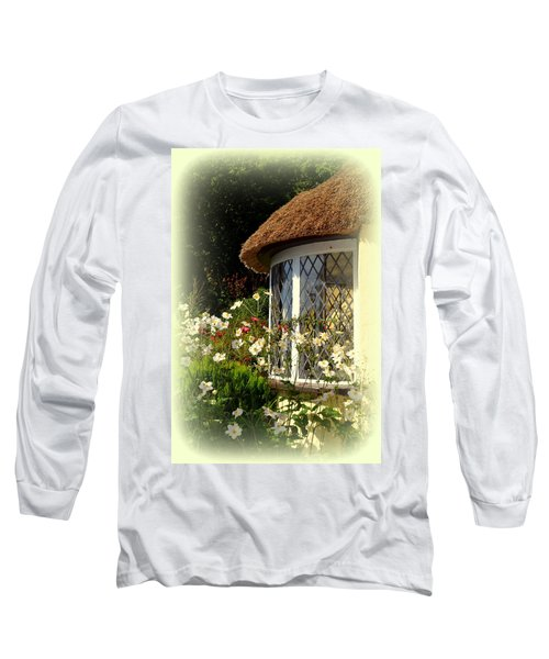 Thatched Cottage Window Long Sleeve T-Shirt by Carla Parris