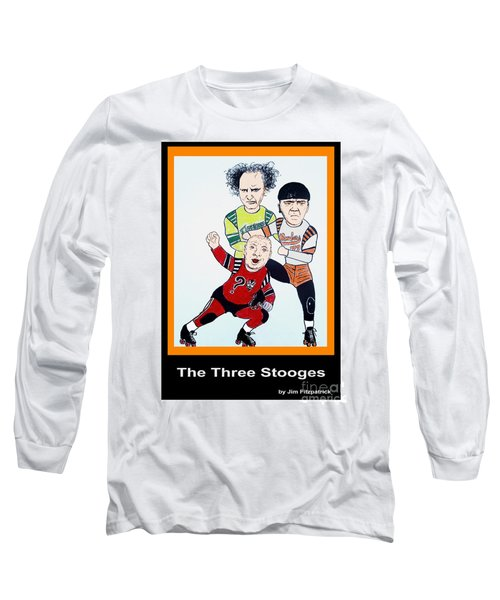 The 3 Stooges Playing Roller Derby Long Sleeve T-Shirt by Jim Fitzpatrick
