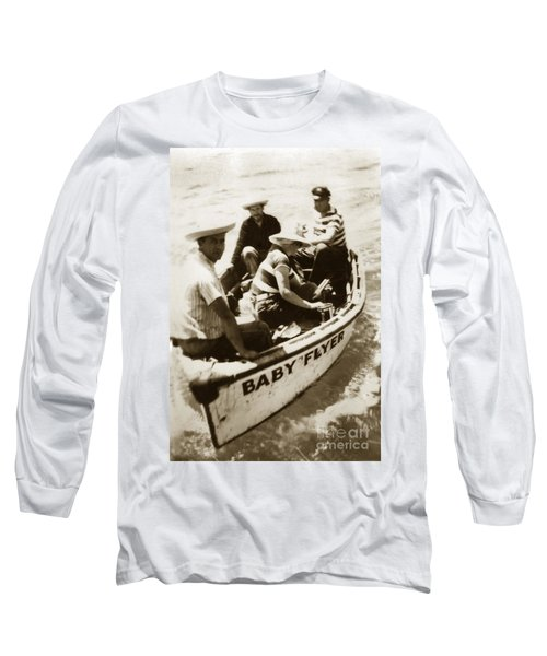 The Baby Flyer With Ed Ricketts And John Steinbeck  In Sea Of Cortez  1940 Long Sleeve T-Shirt