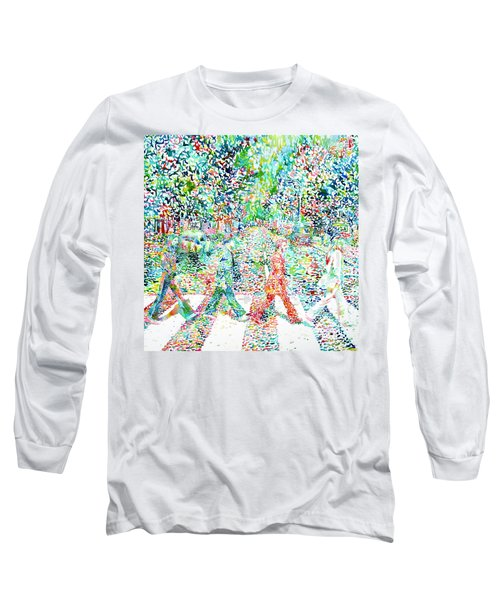 The Beatles - Abbey Road - Watercolor Painting Long Sleeve T-Shirt