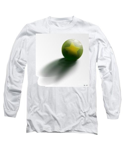 Long Sleeve T-Shirt featuring the digital art Green Ball Decorated With Star White Background by R Muirhead Art