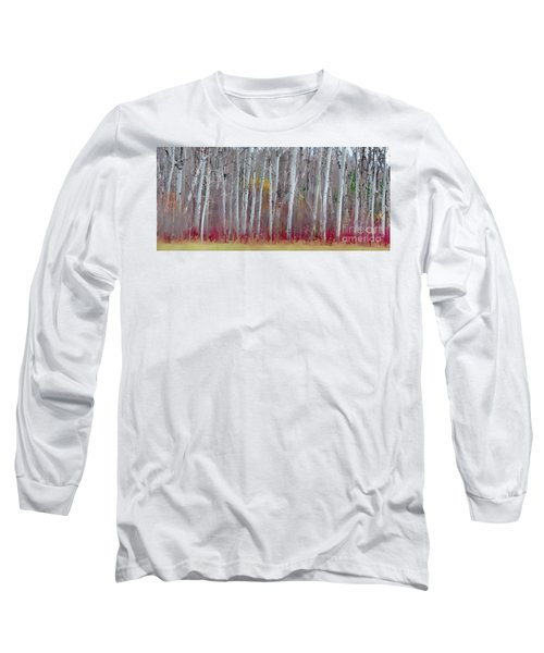 The Birches Panorama  Long Sleeve T-Shirt by Andrea Kollo