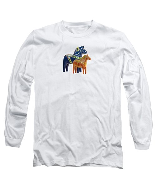 The Blue And Red Dala Horse Long Sleeve T-Shirt by Torbjorn Swenelius
