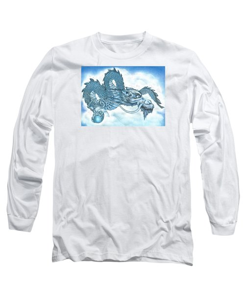 Long Sleeve T-Shirt featuring the drawing The Blue Dragon by Troy Levesque