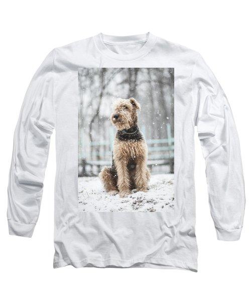The Dog Under The Snowfall Long Sleeve T-Shirt