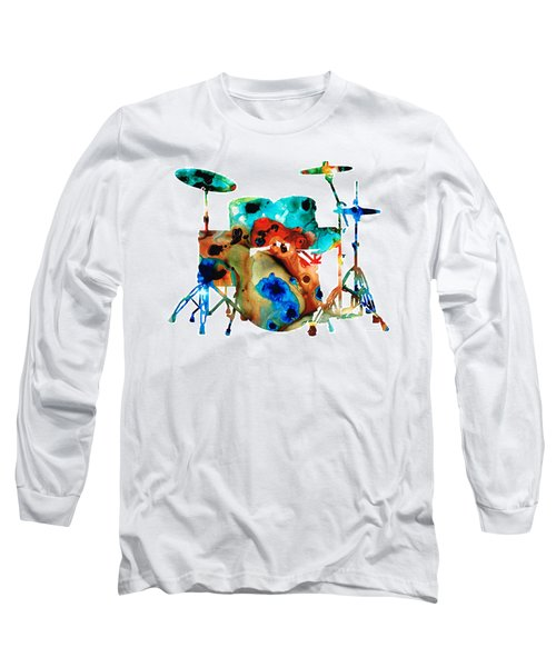 The Drums - Music Art By Sharon Cummings Long Sleeve T-Shirt