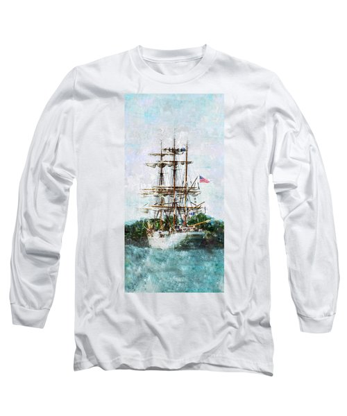 Long Sleeve T-Shirt featuring the photograph Tall Ship Eagle Has Landed by Marianne Campolongo