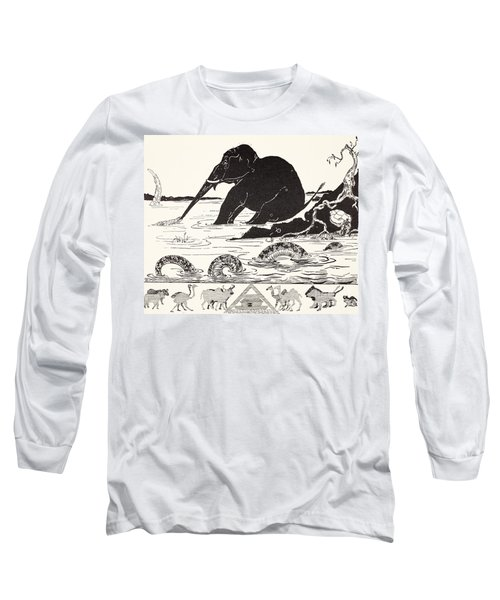 The Elephant's Child Having His Nose Pulled By The Crocodile Long Sleeve T-Shirt by Joseph Rudyard Kipling