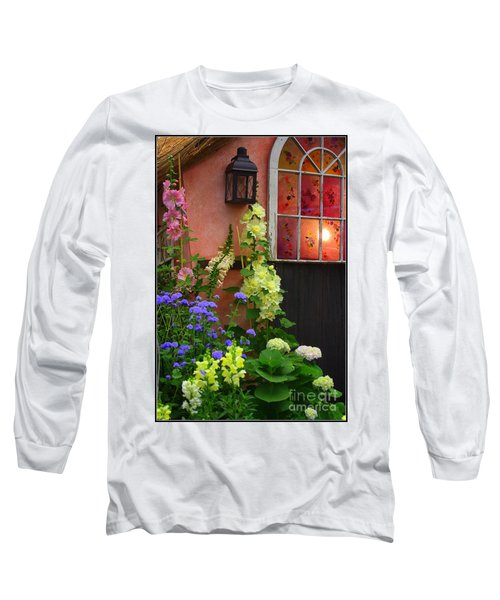 The English Cottage Window Long Sleeve T-Shirt by Dora Sofia Caputo Photographic Art and Design