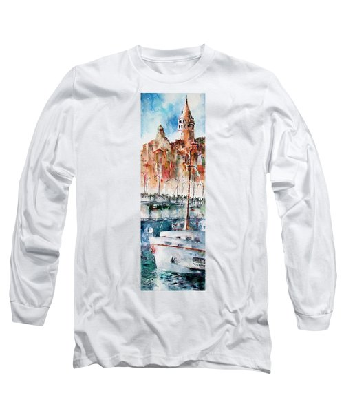 Long Sleeve T-Shirt featuring the painting The Ferry Arrives At Galata Port - Istanbul by Faruk Koksal