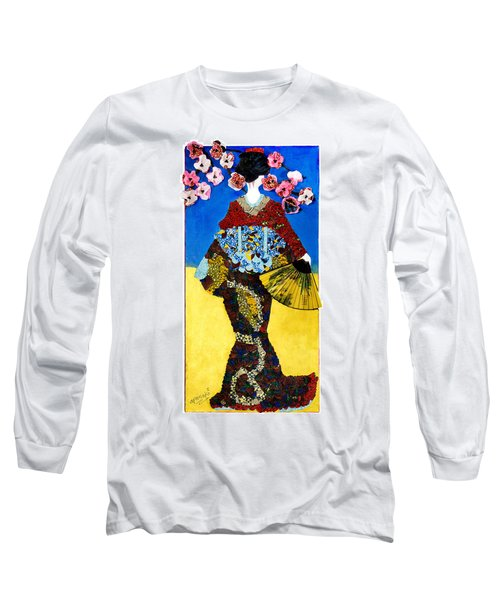Long Sleeve T-Shirt featuring the tapestry - textile The Geisha by Apanaki Temitayo M