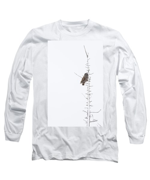 The Grey Hunter On White Long Sleeve T-Shirt by Mircea Costina Photography