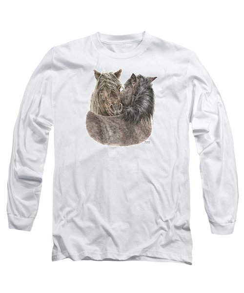 The Groom - Chincoteague Pony Print - Color Tinted Long Sleeve T-Shirt
