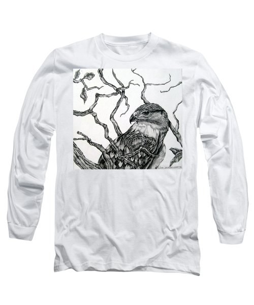 Long Sleeve T-Shirt featuring the drawing The Hawk by Alison Caltrider