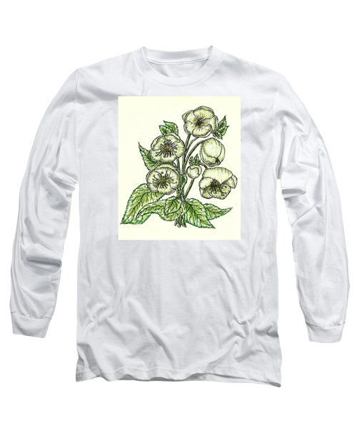 Long Sleeve T-Shirt featuring the drawing The Helleborous by VLee Watson