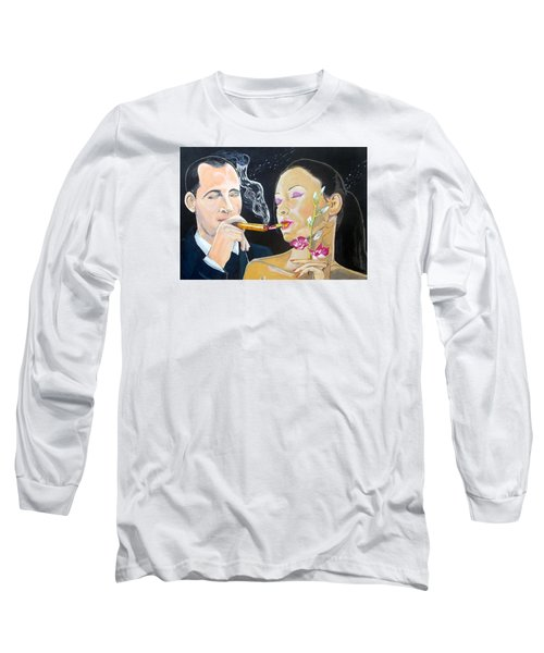 Long Sleeve T-Shirt featuring the painting The Kiss Edge Listen With Music Of The Description Box by Lazaro Hurtado