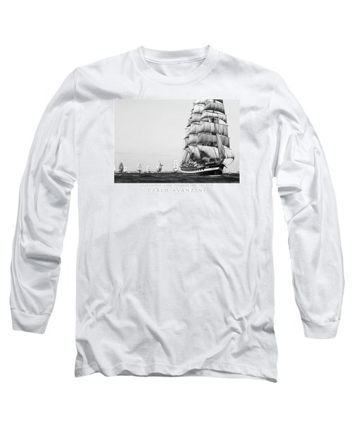 The Kruzenshtern Departing The Port Of Cadiz Long Sleeve T-Shirt by Pablo Avanzini
