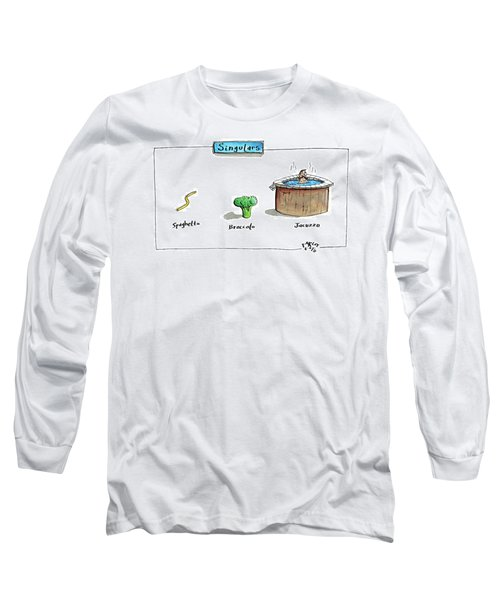 The Labels Beneath Images Of Spaghetti Long Sleeve T-Shirt by Farley Katz